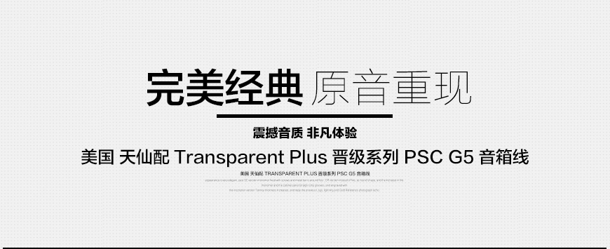 Transparent Plus PSC G5,美国天仙配Transparent 晋级系列 PSC G5 音箱线